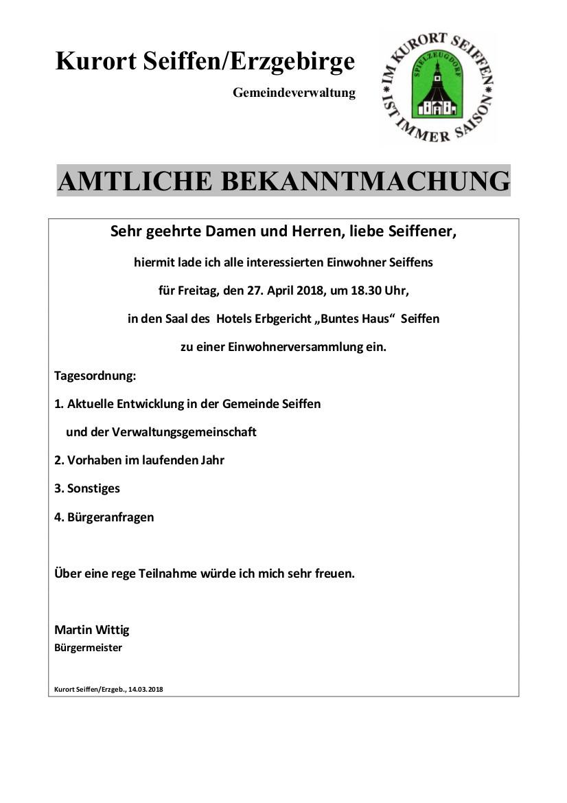 Einwohnerversammlung @ Hotel Erbgericht Buntes Haus | Kurort Seiffen/Erzgeb. | Sachsen | Deutschland