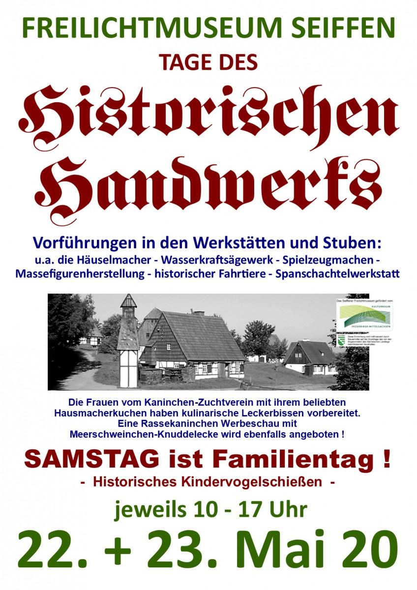 22.-23.05.2020 Historische Handwerk Freilichtmuseum Seiffen