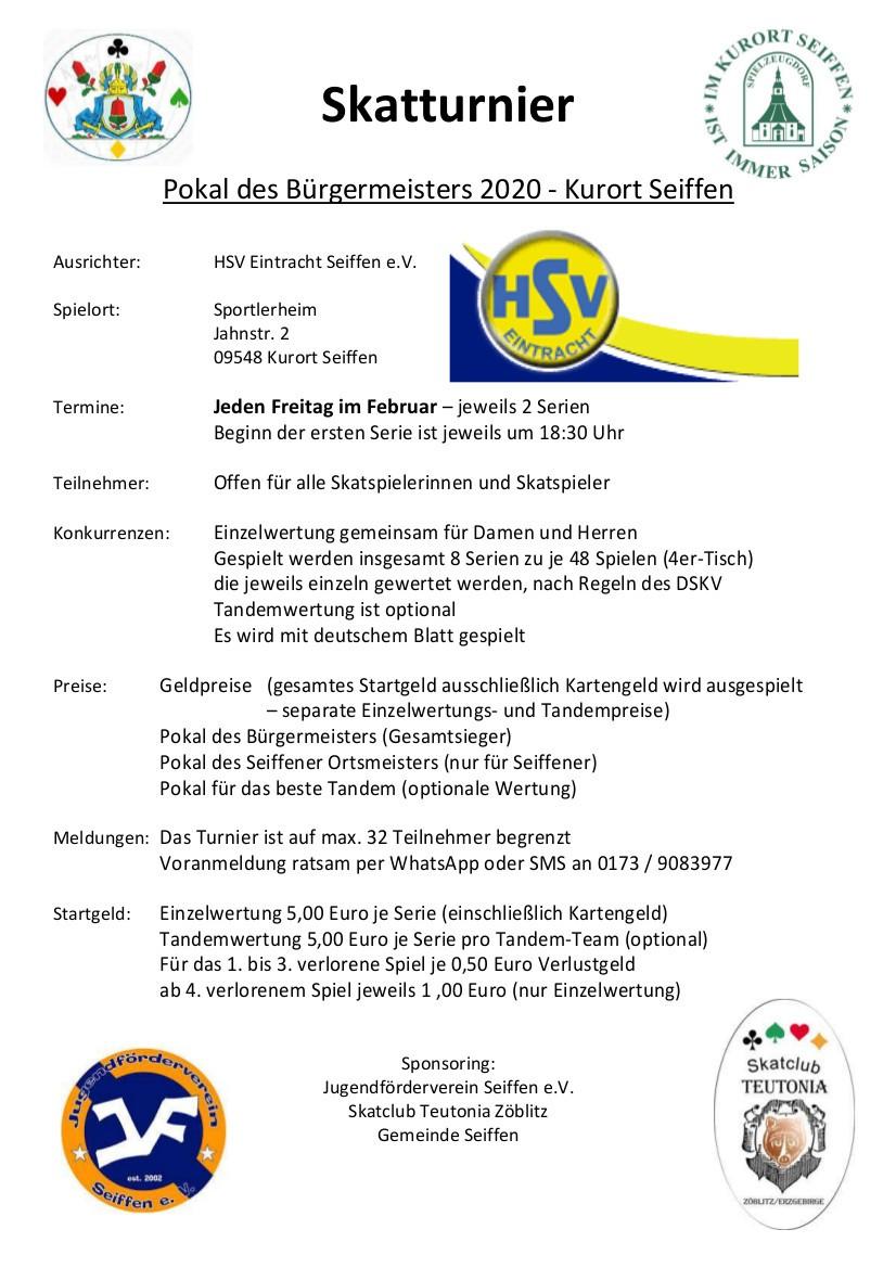 Skatturnier - Pokal des Bürgermeisters 2020 @ HSV Eintracht Seiffen e.V. | Kurort Seiffen/Erzgeb. | Sachsen | Deutschland