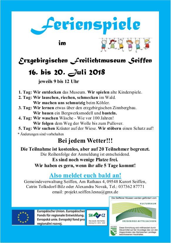 Ferienspiele im Freilichtmuseum @ Erzgebirgisches Freilichtmuseum | Kurort Seiffen/Erzgeb. | Sachsen | Deutschland