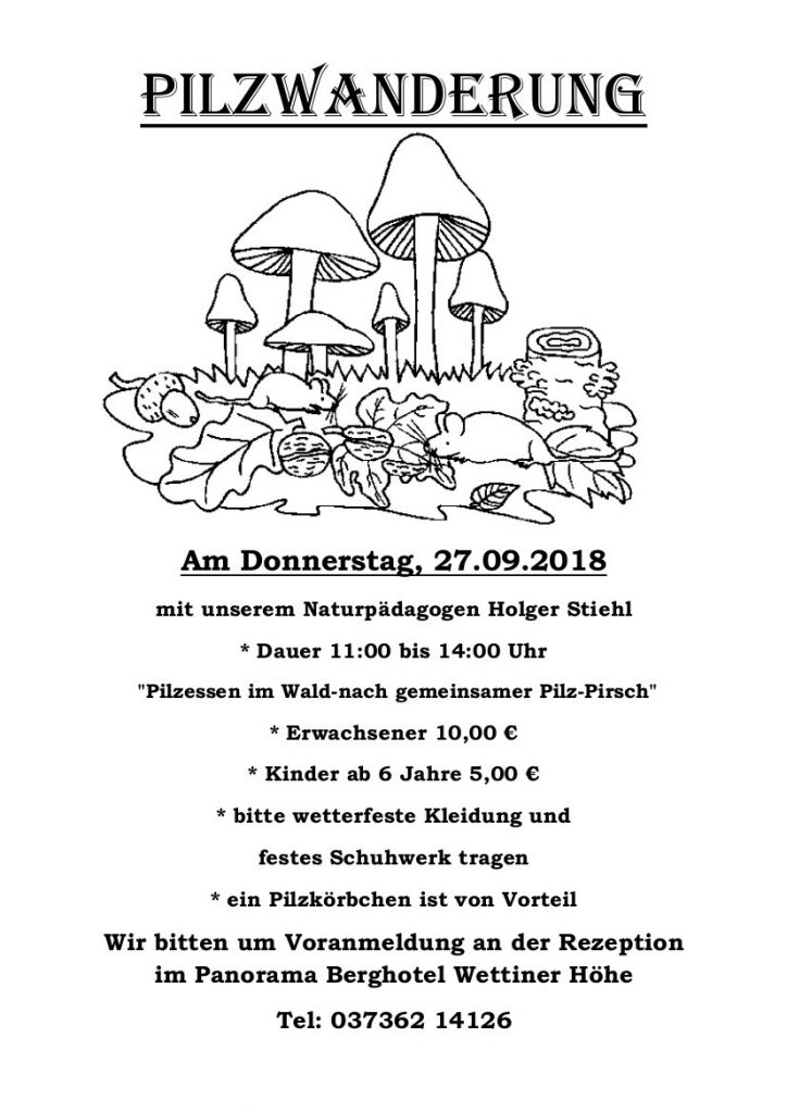 Pilzwanderung @ Panorama Berghotel Wettiner Höhe | Kurort Seiffen/Erzgeb. | Sachsen | Deutschland