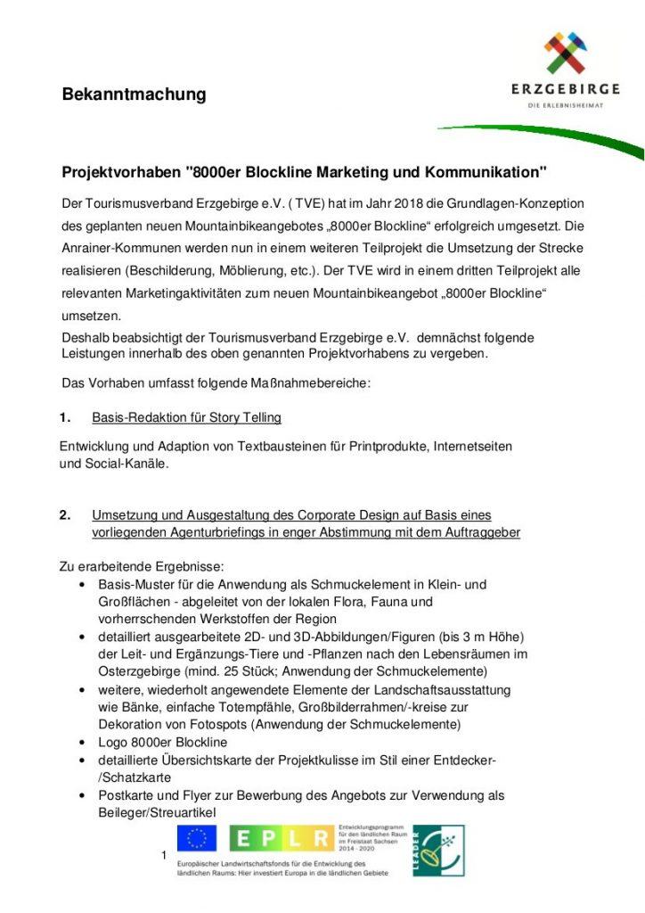 """Bekanntmachung Projektvorhaben """"8000er Blockline Marketing und Kommunikation"""" 1"""