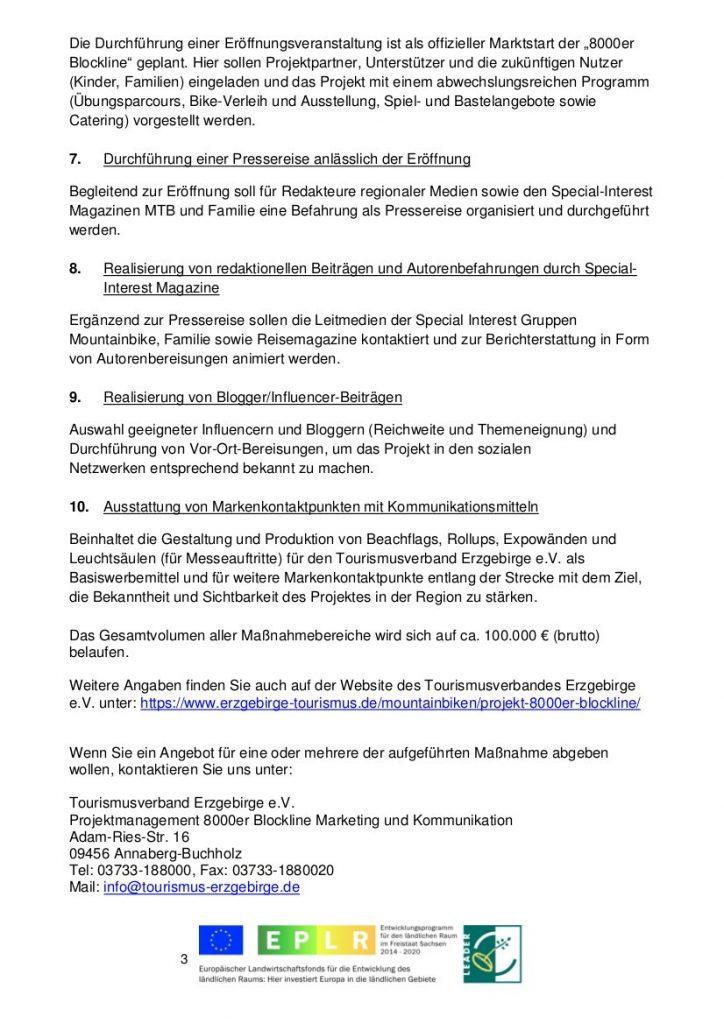 """Bekanntmachung Projektvorhaben """"8000er Blockline Marketing und Kommunikation"""" 3"""