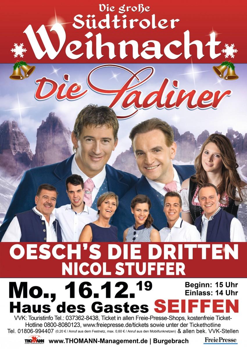 Die große Südtiroler Weihnacht-mit den Ladinern, Oeschs die Dritten und Nicol Stuffer 16.Dezember 2019 1