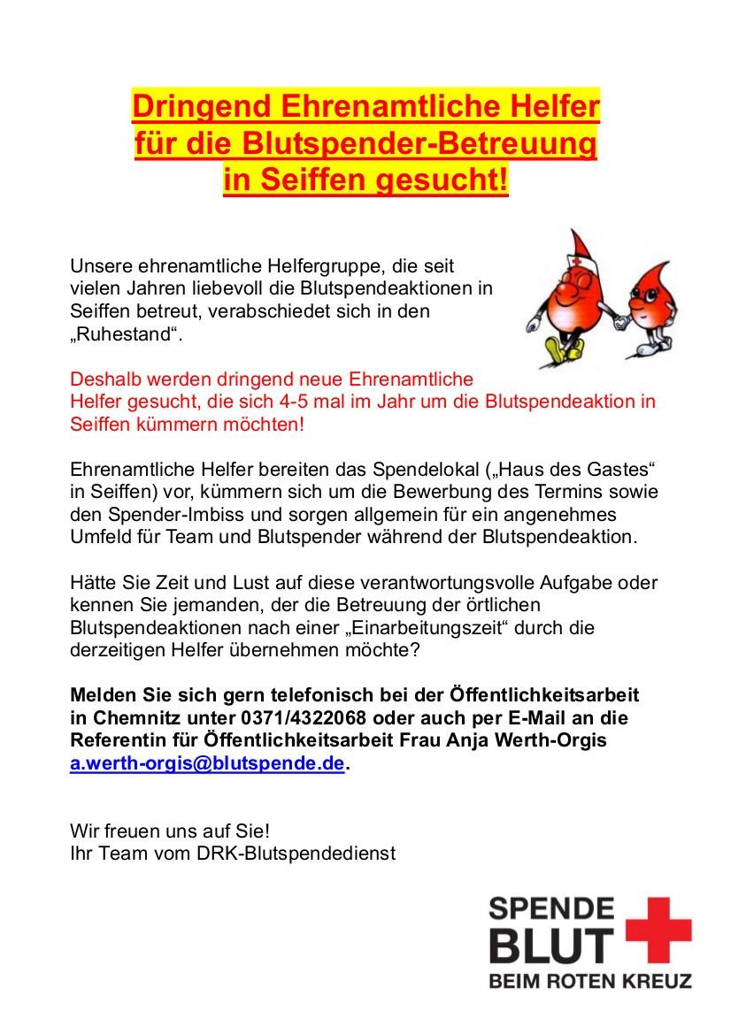 Ehrenamtliche Helfer für die Blutspender-Betreuung in Seiffen gesucht! 1