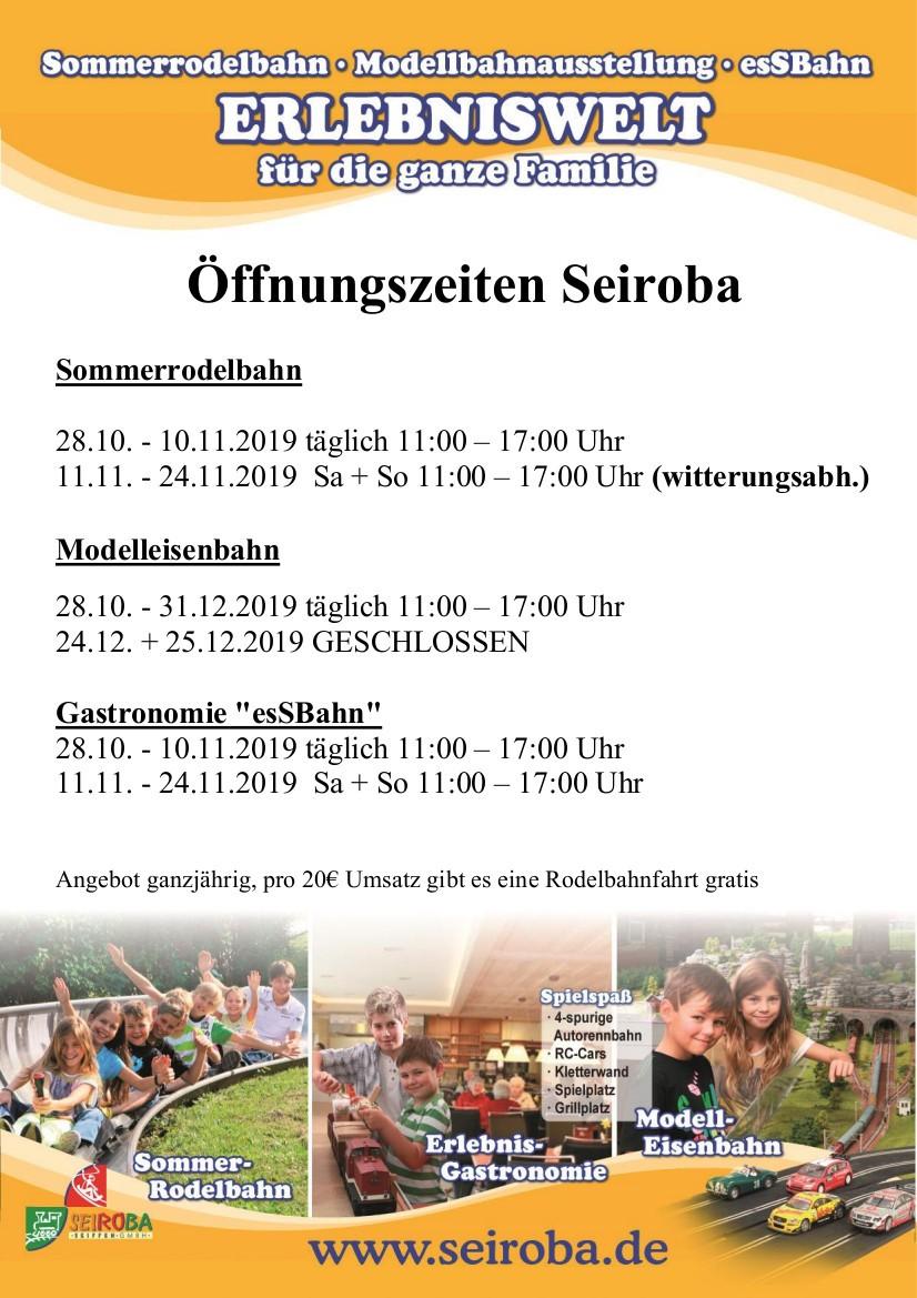 28.10.-24.11.2019 Oeffnungszeiten Rodelbahn