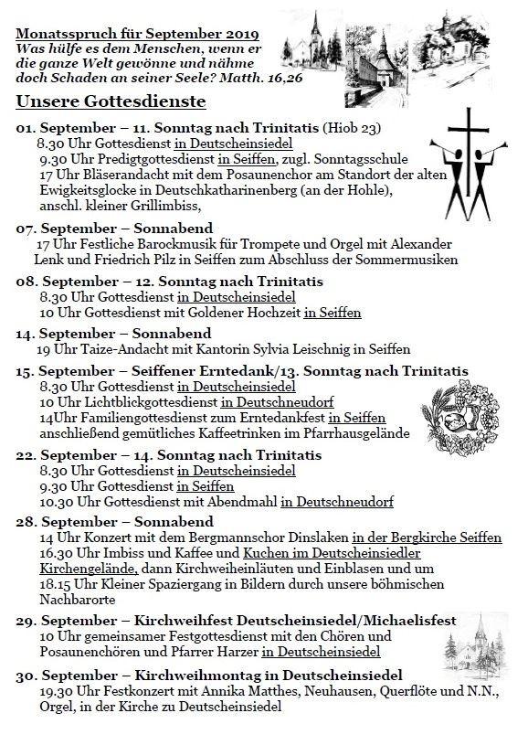 Veranstaltungen im September in der Bergkirche 1