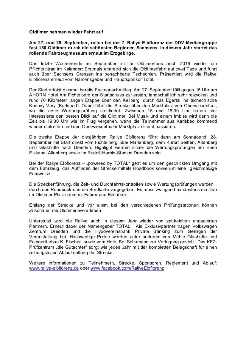 Rallye Elbflorenz fährt durch Seiffen am 28. September 2019 2