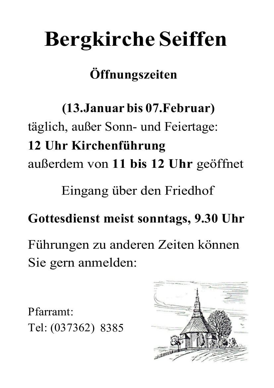 13.01-07.02.2020 Oeffnungszeiten Bergkirche