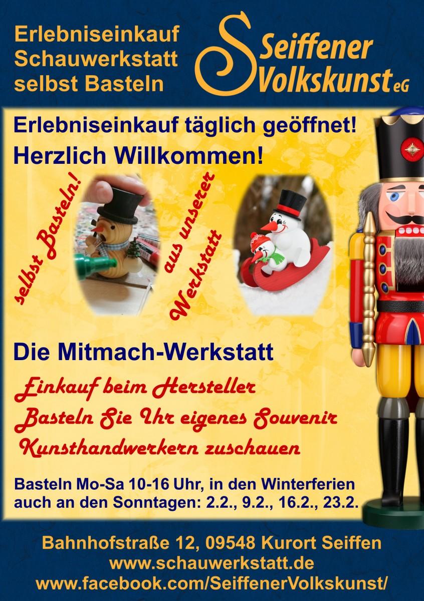 Januar bis Maerz Bastel Schauwerkstatt Seiffen