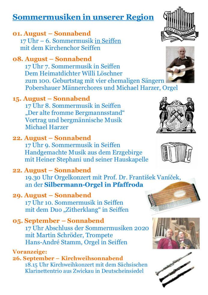 Sommermusiken in unserer Region - August 2020