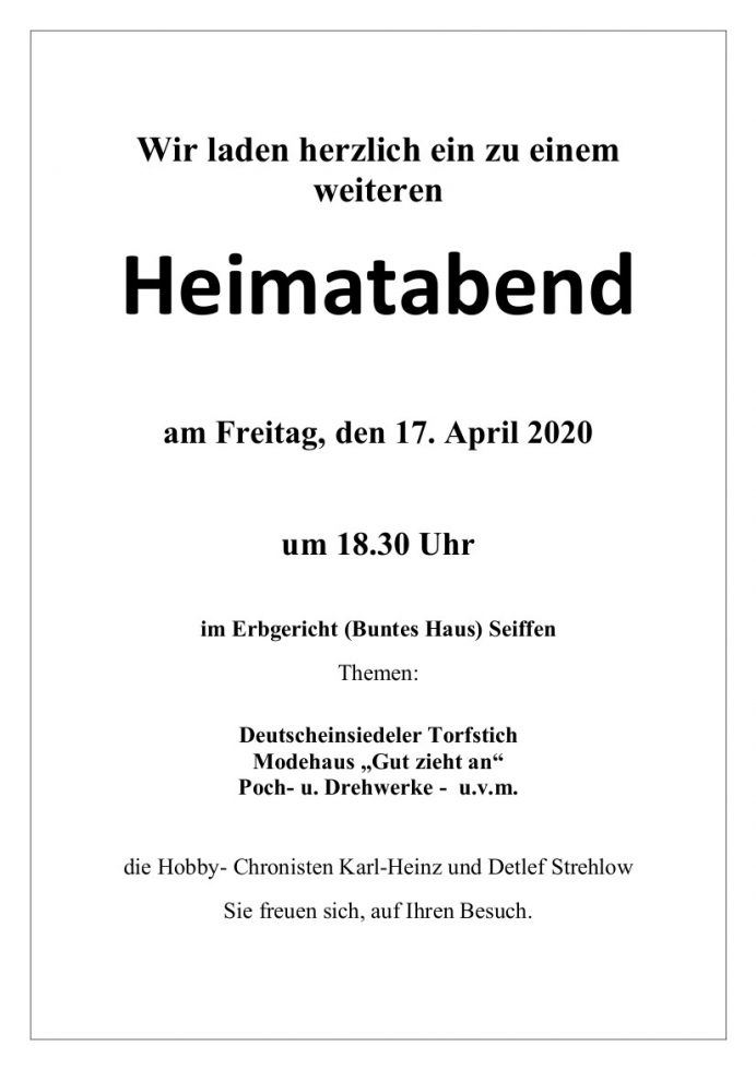 17.04.2020 Heimatabend Seiffen