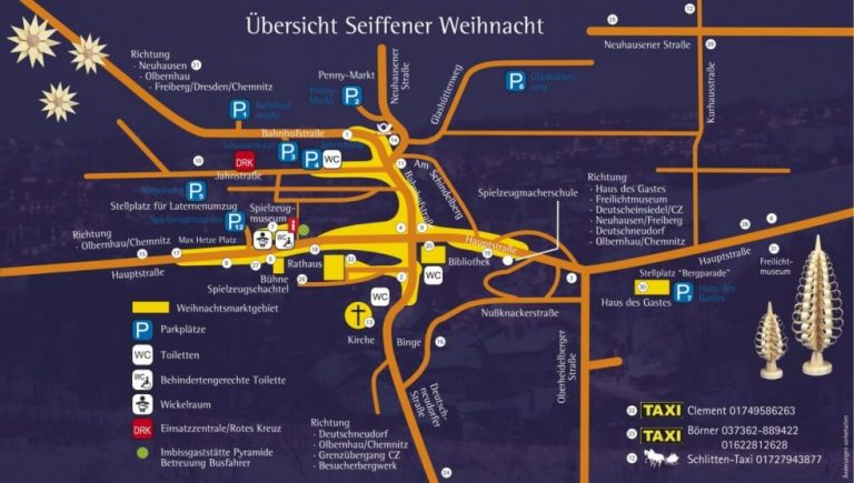 Übersichtskarte des Seiffener Weihnachtsmarktes