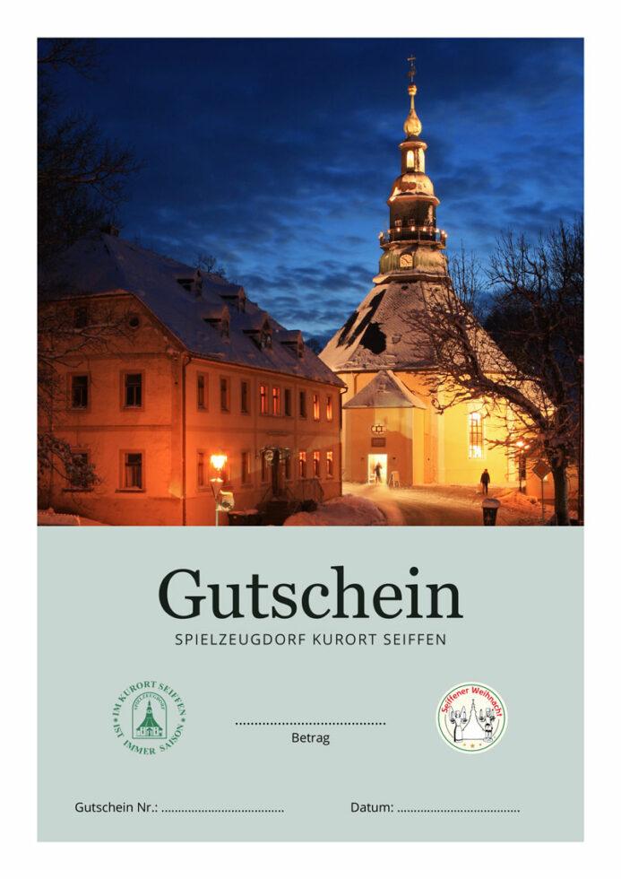 Seiffen-Gutschein, Motiv Bergkirche Seiffen zur Dämmerung